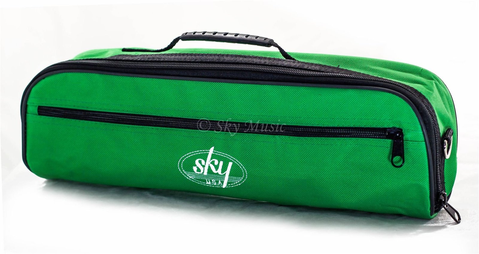 Sky Brand New C Flute Hard Case Cover w Side Pocket/Handle/Strap Green Color