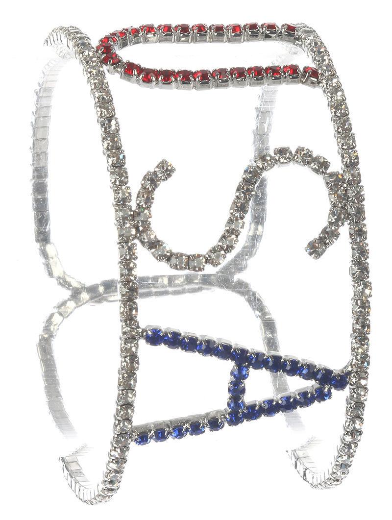 Patriotic Silvertone Rhinestone Cuff Bracelet USA American Pride United States