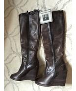 Frye Cece Seam Knee High Wedge Boots Womens 8 Slate Leather NEW $388 FAB... - $171.84