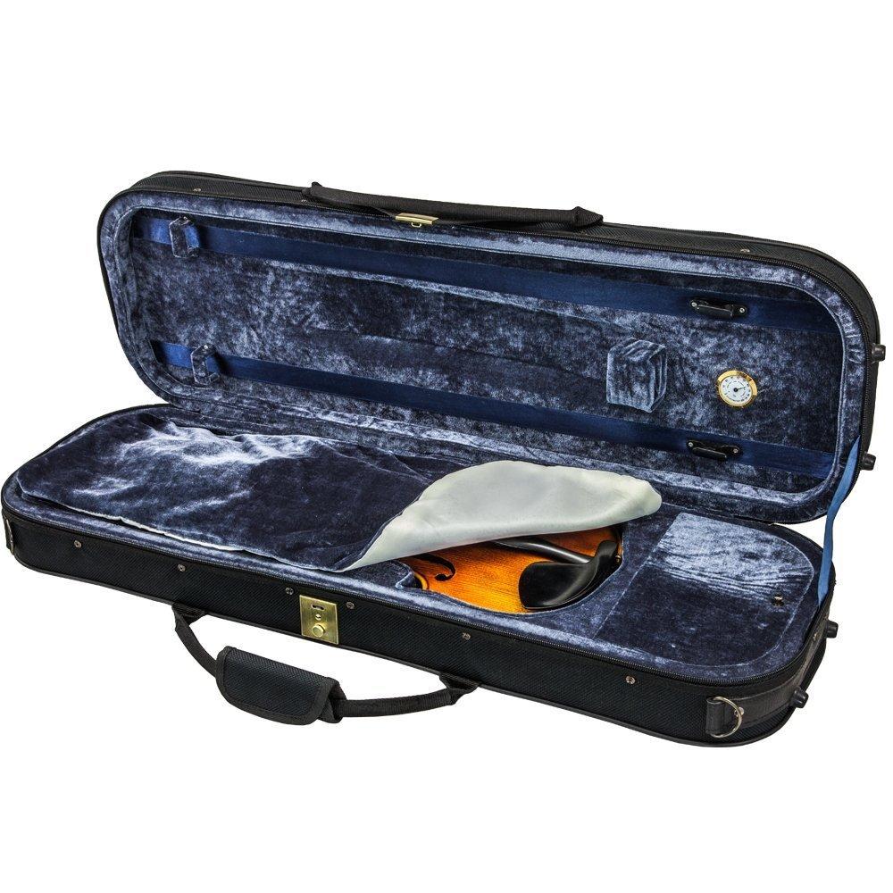 SKY 4/4 Full Size Violin Oblong Case Lightweight with Hygrometer Black/Deep Blue
