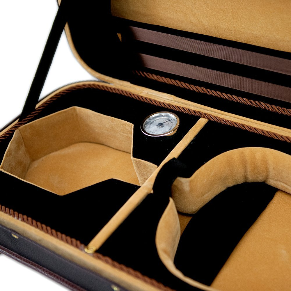 SKY Violin Oblong Case Solid Wood Imitation Leather with Hygrometers Brown/br...