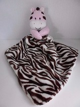 Baby Starters Zebra Blanket Pink Cream Brown Satin Security Lovey - $19.55