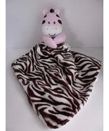 Baby Starters Zebra Blanket Pink Cream Brown Satin Security Lovey - $19.55