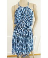Nwt Calvin Klein Halter Chiffon Pleated Fit Flare Dress Sz 10 Blue  Prin... - $59.35