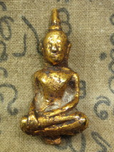 Very Rare! Magic Gold Pra-Yod-Thong Boran Protective Sacred Thai Buddha Amulets - $12.99