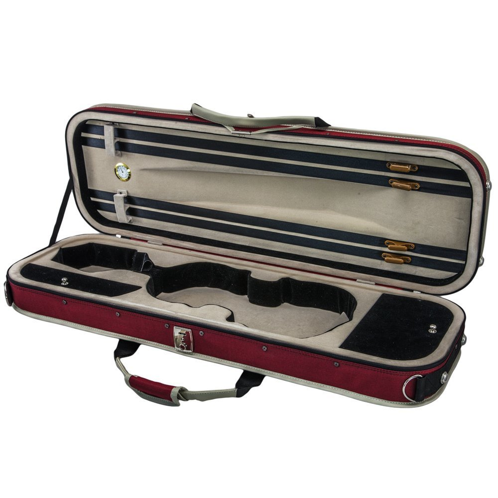 SKY 4/4 Full Size Violin Oblong Lightweight Case with Hygrometer Red/White Sp...