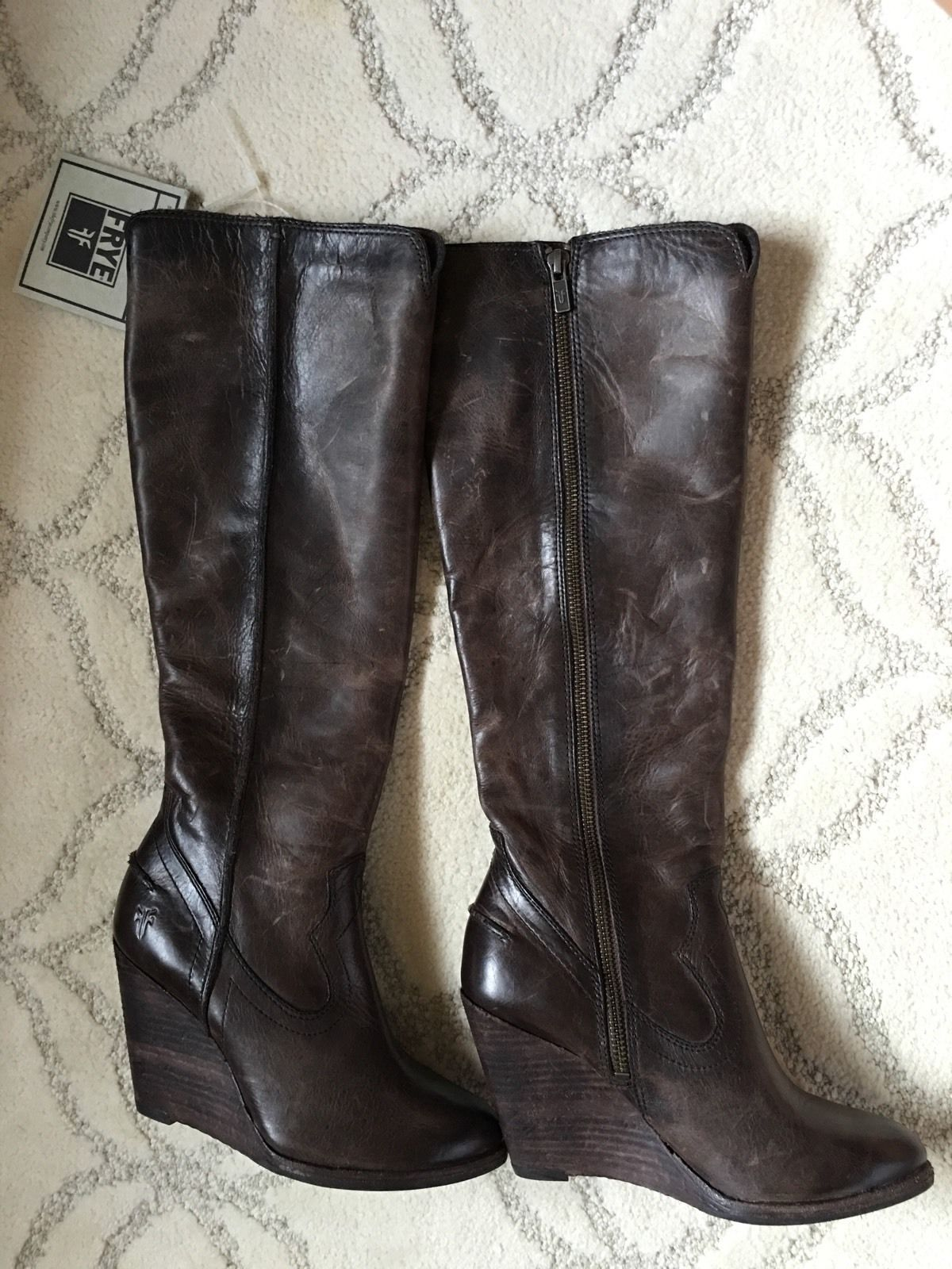 e8452cf1162 Frye Cece Seam Knee High Wedge Boots Womens 8 Slate Leather NEW  388  FABULOUS!