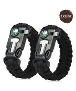 Outdoor Survival Camo Paracord Bracelet Flint Fire Starter Compass Whist... - $4.99