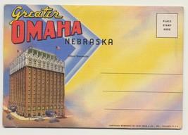 Vintage 1937 Greater Omaha Nebraska Linen Fold-Out Postcard by Curt Teic... - $7.92