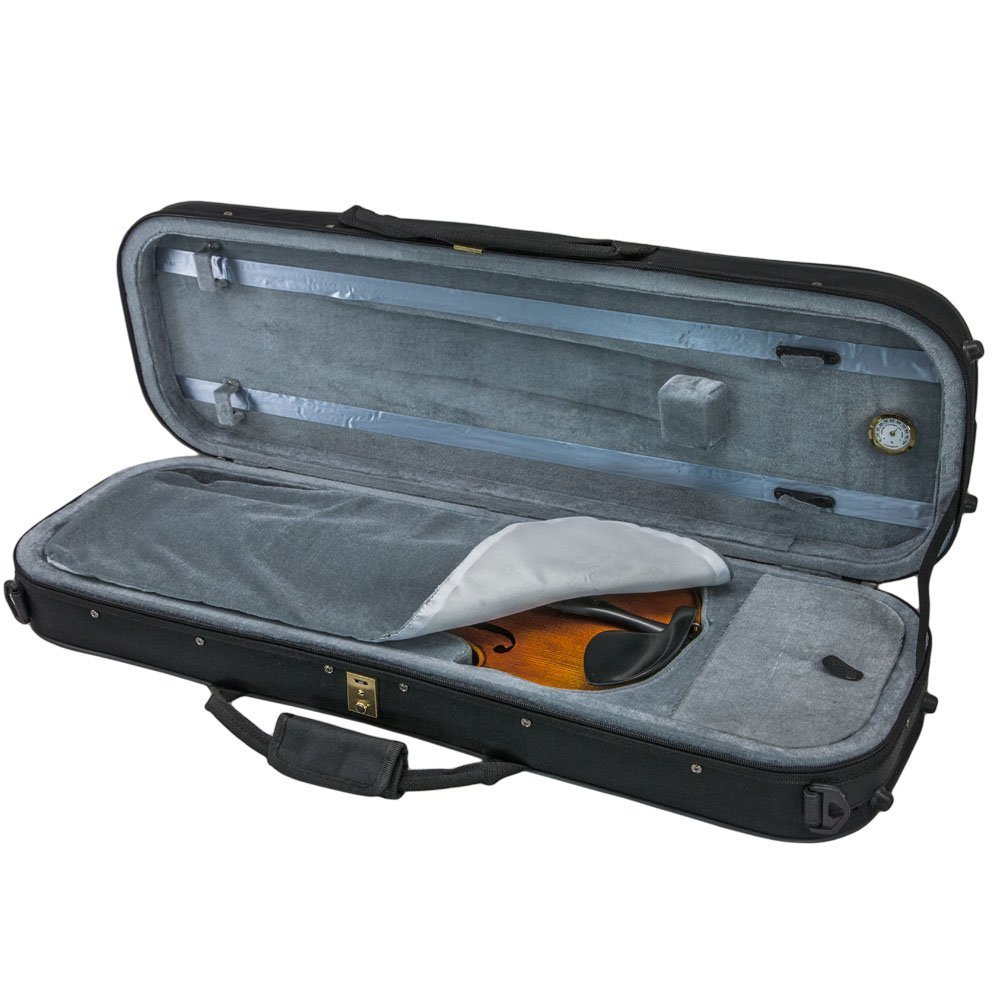 SKY 1/4 Violin Oblong Case Lightweight with Hygrometer Black/Grey