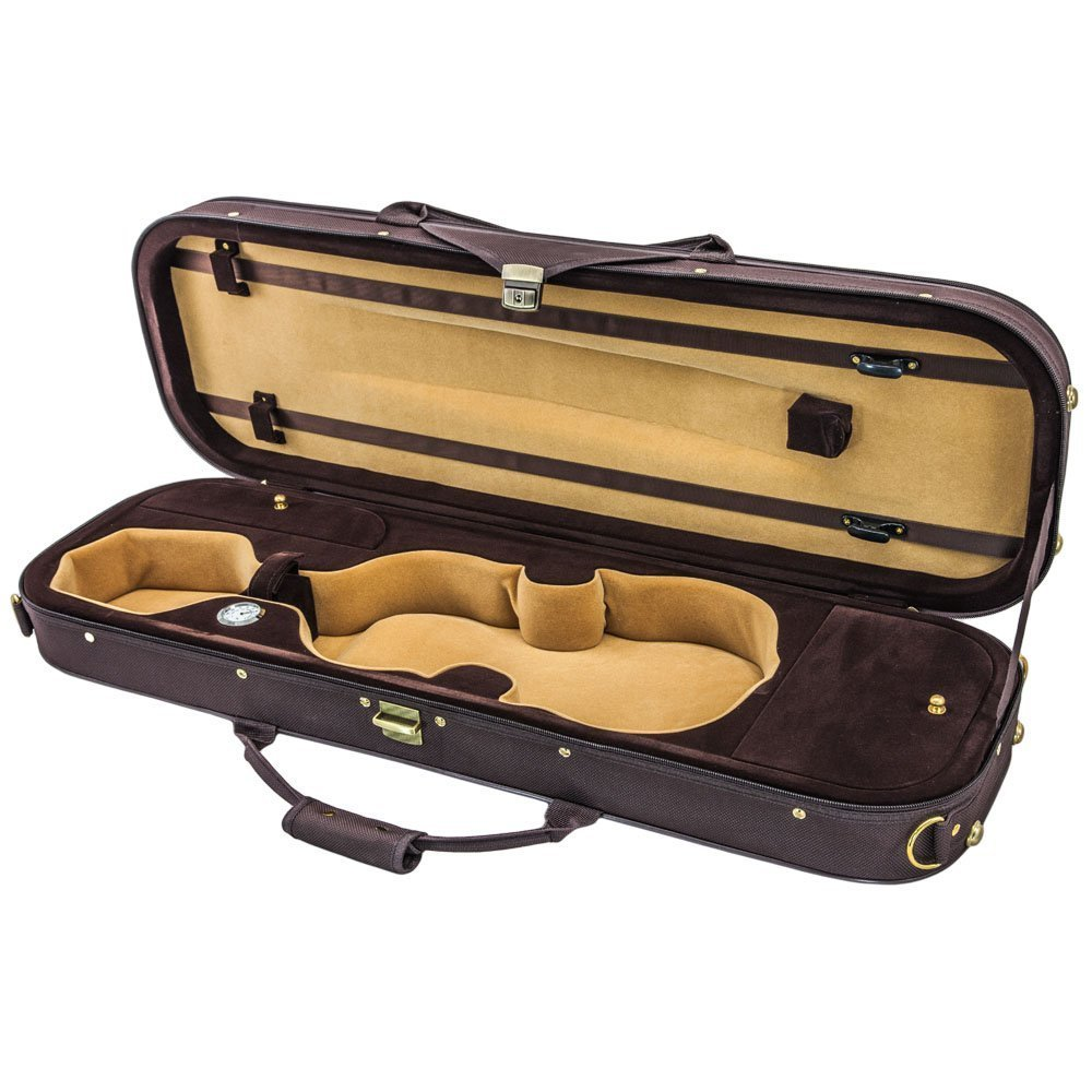 SKY 4/4 Full Size Violin Oblong Case Lightweight with Hygrometer Brown/Coffee...