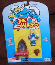 Schleich Smurfs #40300 Smurfette Collectible Figure w/ Accessories Vanit... - $22.24