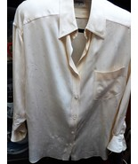 ICONIC  80S CHANEL BOUTIQUE CREAM IVORY SILK BLOUSE TOP LONG SLEEVE LARG... - $329.00
