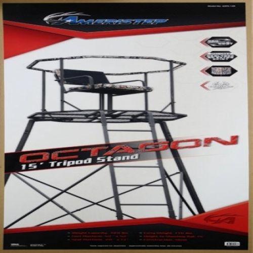 15` Tripod Tree Stand Platform 360 Seat Deer Turkey Hog Hunters Bow Rifle Rail