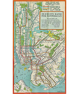 1948 New York City NYC Subway System Map Train Transit IRT BMT IND Wall ... - $16.83