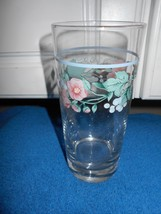 SET OF 4 TUMBLER GLASSES PINK FLORAL BERRIES VGC CUTE - $12.64