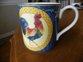 Fitz and Floyd Classic Collection Coq Du Villiage Blue Rooster Mug Cup  - $9.49