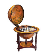 Globe with Chess and Checkers Set Wood Stand 24... - $158.91