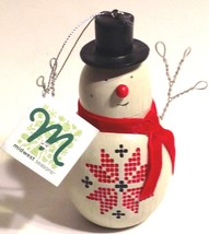 Christmas Ornament Snowman Stenciled With Poisettia Midwest Cannon Falls - $13.81