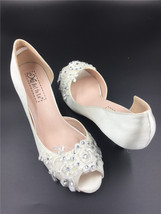 White Wedding Heels, Ivory Bridal Heels, Low Heels, Ivory Shoes with Iv... - $68.00