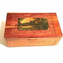 Vintage Cedar Box with Decoupage Farm Cottage Scene - $20.78