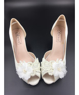 Low Heels Ivory White Satin Lace Wedding Shoes/Low Heels Satin Bridals s... - $68.00