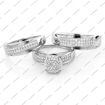 His & Her Engagement Wedding Ring Set In White Gold Plated 925 Sterling Silver - $131.57