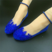 Blue pearl ankle strap shoes,wedding flats for bride,blue lilac bridesmaid shoes - $48.00