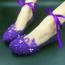 Purple Lace ankle strap Bridal Flats Shoes,Dark Purple Ankle Strap Wedding Shoes - $48.00