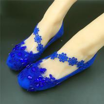 Blue Lace Ankle Straps Bridal Ballet Flats,Blue Bridal Flats,Flat Wedding Shoes - $48.00