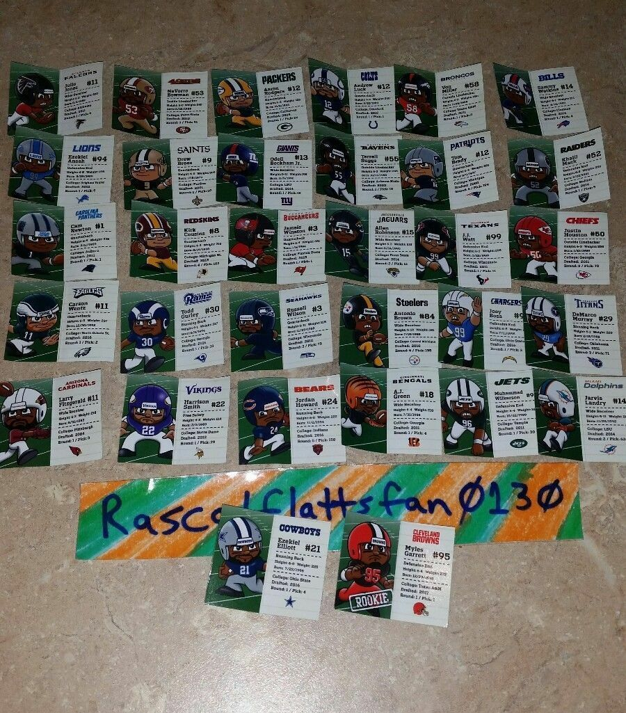 NFL FOOTBALL TEENYMATES SERIES 6 COMPLETE SET OF 32 PLAYER PROFILE CARDS!!! 2017 image 3