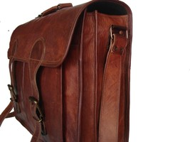 Men's Vintage Messenger Bag Shoulder Laptop Briefcase Genuine Leather Brown - $88.11