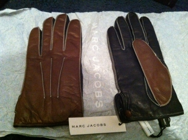 MARC JACOBS runway black & brown Cashmere-Lined LEATHER GLOVES Made in Italy NWT