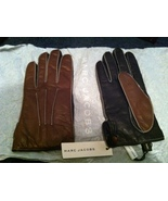 MARC JACOBS runway black & brown Cashmere-Lined LEATHER GLOVES Made in I... - $250.00