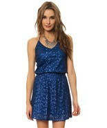 blue sequin honey punch halter dress NWT - $440,77 MXN