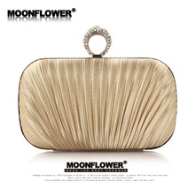 Satin Ruffles Rhinestones Bling Clutch Evening Bags - $35.99
