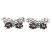 """Sterling Silver Earrings Fashionable Multicolored Cz Butterfly Design """"ON SALE"""" - $16.17"""