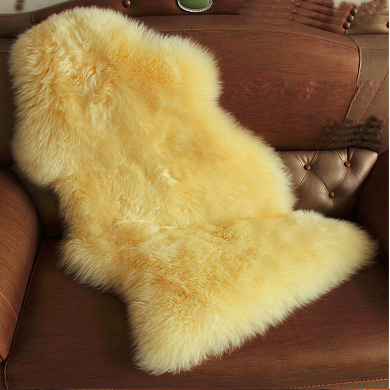 Decorative Yellow Sheepskin Rug Bed Sofa Fur Blanket