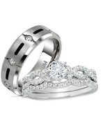 His & Hers 3 Piece Cz Inifinity Sterling Silver... - $59.99
