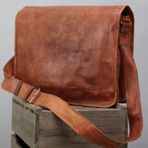 vintage soft leather messenger brown real laptop satchel bag genuine briefcase-. - $40.00