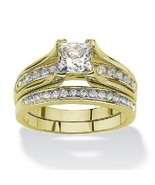 Women's Yellow Gold Plated Cz Wedding Engagemne... - $18.99