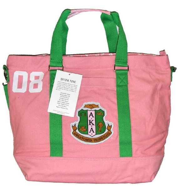 Alpha Kappa Alpha Salmon Pink And Green Aka Canvas Tote