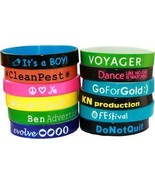 200 COLOR TEXT CUSTOM SILICONE WRISTBANDS FAST SHIPPING your design on b... - $143.54
