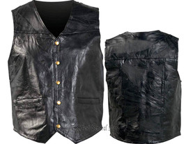 Mens MEDIUM Genunie Leather Motorcycle Biker Vest Italian Design Leather... - $18.90