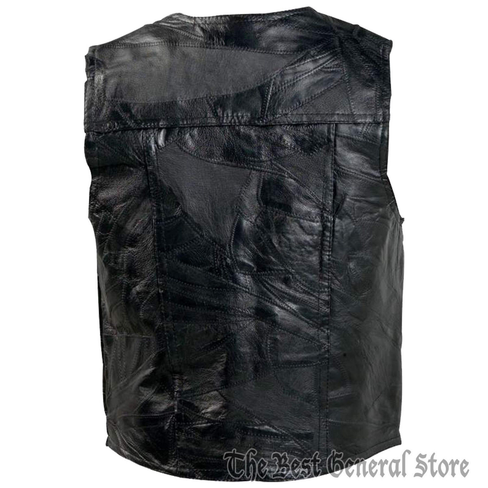 Mens 3X Genunie Leather Motorcycle Biker Vest Italian Design Leather Jacket XXXL