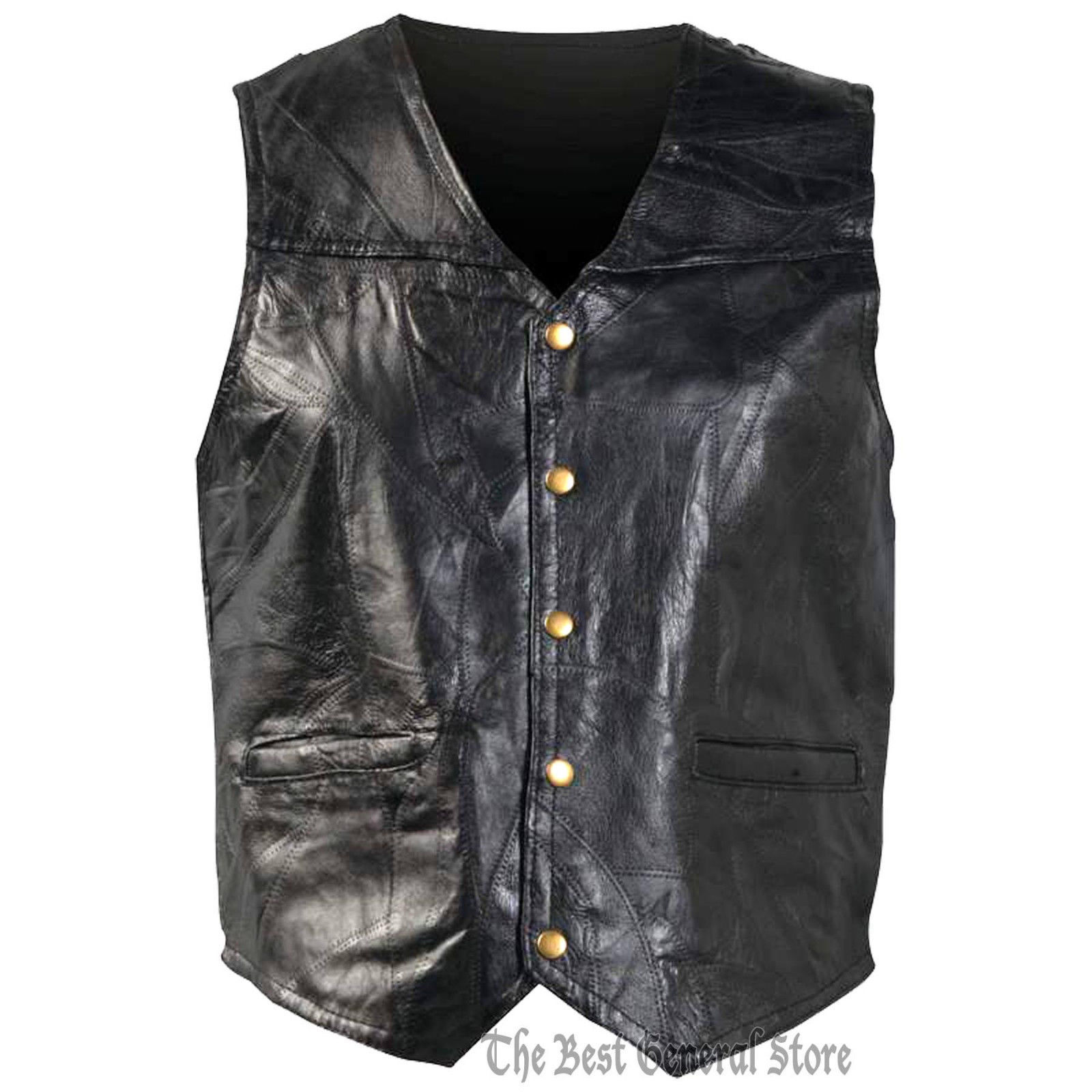 Mens MEDIUM Genunie Leather Motorcycle Biker Vest Italian Design Leather Jacket