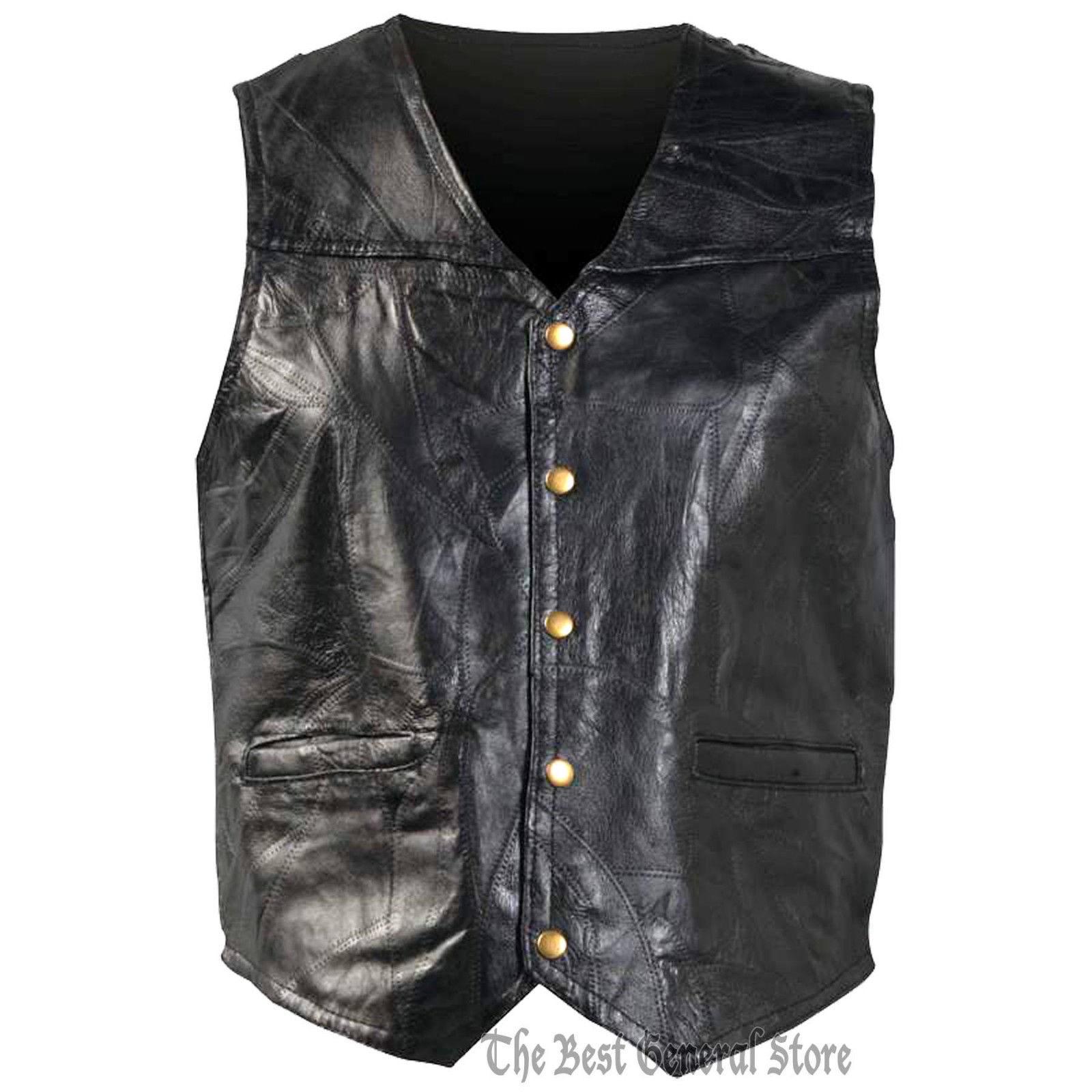 Mens LARGE Genunie Leather Motorcycle Biker Vest Italian Design Leather Jacket L