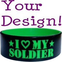 """Custom One Inch 1"""" Silicone Wristband Your Color & Text - $9.89"""