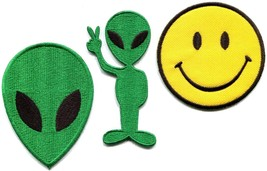 Lot of 3 alien smiley face ufo flying saucer retro appliques iron-on patches new - $4.94