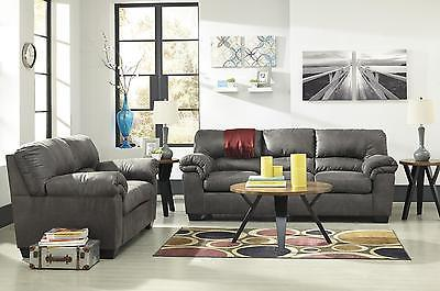 Ashley Bladen Living Room Set 2pcs Faux Leather Slate Contemporary Style